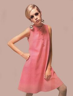 Decreasing hem-line of the mini skirt, brightly coloured patterns and high boots which created the Mod look from 60's!