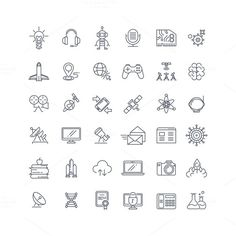 Technologies and science line icons  @creativework247