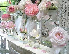 Table Decor   simple flowers in jars, bottles and simple vases