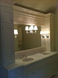 Double vanity with side storage