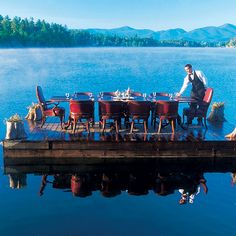The View Restaurant, Mirror Lake Inn, Lake Placid, NY. Adirondack peaks frame the lake and this inn, which serves dishes made with local and regional ingredients.
