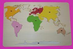 Puzzle mapa Kontinenty, barevná