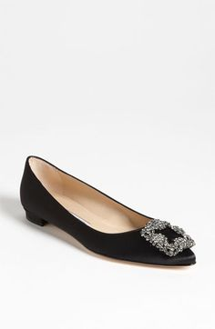 Manolo Blahnik Hangisi Flat available at #Nordstrom. To die for!!!! One day I will own a pair of Manolos