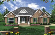The Hickory Ridge This plan features 3 large bedrooms, 2 full baths, and an oversized two-car garage. The centrally-located living room has easy-access to the kitchen, dining, and bedrooms. Family and friends will enjoy the dual raised-bar eating areas. Cottage House Plans, Bedroom House Plans, New House Plans, Cottage Homes, Cottage Style, Farm House, Brick Siding, Ranch Style Homes, Back Patio