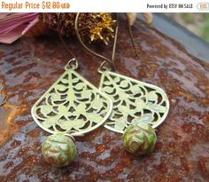Christmas in July Mossy Gypsy Brass Peacock Teardrop Earrings   Hand Forged Ear Hooks Vintaj Brass originally 16 dollars now 12.80 sale  Fil