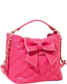 """Will You Be Mine"" Betsey Johnson Bucket Tote Cute Handbags, Beautiful Handbags, Beautiful Bags, Purses And Handbags, Ladies Handbags, Coach Handbags, Coach Bags, Pink Handbags, Crochet Handbags"