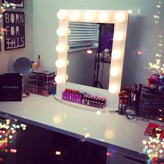 Broadway lighted table top vanity mirror from Vanity Girl Hollywood. Um yeh. I can dig it.