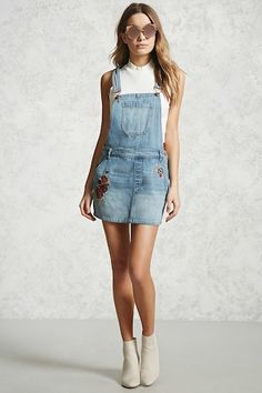 Floral Embroidery Dungaree Dress - Dresses - 2000226177 - Forever 21 EU English