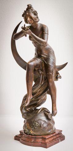 """Avril"" by Julien Caussé (spelter/marble, 59 cm)"