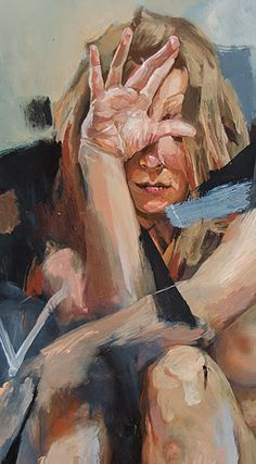"""""""How Long Must I Wait"""" - Andrés Kai, oil on mdc, 2014 {contemporary figurative art female nude laura blonde woman cropped detail texture smudged painting} Portrait Art, Portraits, Painting Inspiration, Art Inspo, Piano Art, Realistic Oil Painting, Art For Art Sake, Cool Paintings, Art Plastique"""