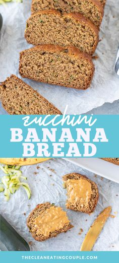 Zucchini Banana Bread Recipe is a healthy treat everyone will love! Add chocolate chips or turn into muffins with this versatile dessert! Healthy Food Alternatives, Healthy Bread Recipes, Healthy Muffins, Banana Bread Recipes, Healthy Breakfast Recipes, Healthy Baking, Healthy Desserts, Real Food Recipes, Snack Recipes