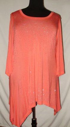 c656b39d1d5a1 Laura Ashley Womens Plus Size 2X Peach Silver Beaded Slinky Short Sleeved M   LauraAshley