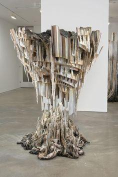 Diana Al-Hadid    Self Melt (detail)    2008  Polymer gypsum, steel, polystyrene, cardboard, wax and paint