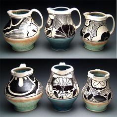 decorative pitchers Rachel DePauw sgraffito art nouveau  pottery ceramics clay