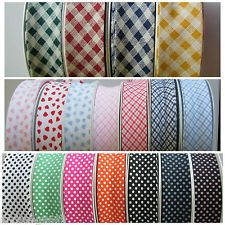 "25MM APPROX 1"" PATTERNED COTTON BIAS BINDING CHECK GINGHAM / HEART / POLKA DOT"
