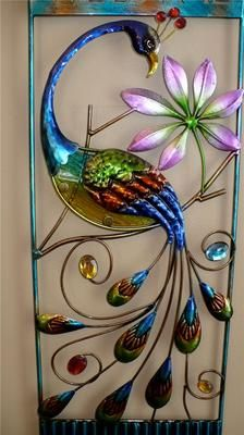 28 8 in Fusion Glass and Metal Peacock Wall Decor Deck Fence Garden Home Patio Peacock Painting, Peacock Art, Peacock Theme, Peacock Wall Decor, Peacock Pictures, Custom Stained Glass, Stained Glass Patterns, Rock Crafts, Wire Art