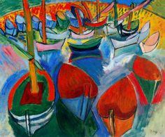 Boats at Martigues, 1908			-Raoul Dufy - by style - Fauvism