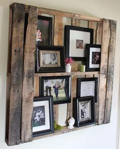 This is a cool way to rework an old skid! I like that there's enough room to hang pictures and place them on the shelves too! If I have a big bare wall, this would be great