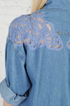 lace on denim... um YES i would love to have this!!! maybe on the back instead of the shoulders? :))