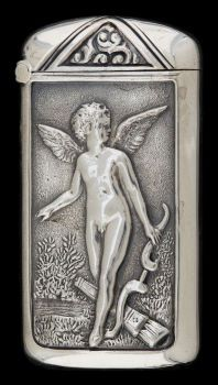 Match Safes, A GILBERT SILVER AND SILVER GILT MATCH SAFE .    circa 1890. Cupid Perhaps