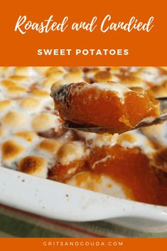 Roasted then candied sweet potatoes will become your new family favorite side dish for Thanksgiving and Christmas! If you want to gild the lily, sprinkle with marshmallows and toast them! Easy and addictive. Southern Christmas Recipes, Best Christmas Recipes, Holiday Meals, Southern Recipes, Christmas Foods, Thanksgiving Side Dishes, Thanksgiving Recipes, Fall Recipes, Dinner Recipes
