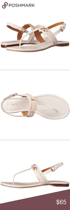NWOT Coach White Sandals Brand New, Never worn Coach White Sandals with Gold Hardware. These are super cute sandals that can be worn dressed up or down this summer! Size 9 and fits true to size! See sizing details in photos. Firm Price.  🚫Trades/Holds🚫 📦Ships same day if PO is open📦 💰Firm Price Coach Shoes Sandals