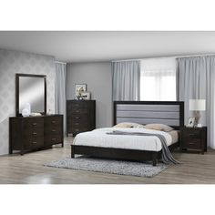 Best Quality Furniture Dark Gray Linen Look Eastern King 5 Piece Bedroom Set ** Click image for more details. (This is an affiliate link and I receive a commission for the sales) Home Furniture Online, Furniture Deals, Quality Furniture, Discount Furniture, 5 Piece Bedroom Set, Kids Bedroom Sets, Teen Bedroom, Master Bedrooms, Best Bedding Sets