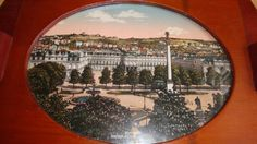 ANTIQUE GERMAN WOODEN TRAY WITH OLD PICTURE OF STUTTGART UNDER THE GLASS