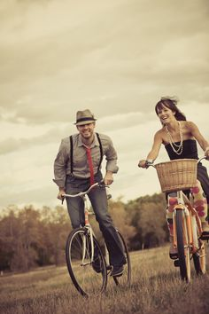 Super fun Bike Ride Engagement pic with a touch of vintage (Harper Point Photography)