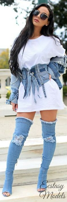 Denim, Denim, Denim // Fashion Look by Carli Bybel