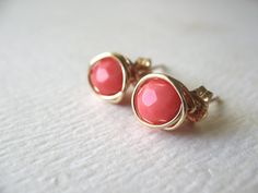 Post Earrings Pink Coral Gemstone 14K Gold by BlueDoveStudio, $14.00