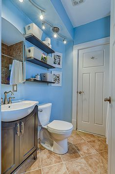Photo Album Website My craftsman home bathroom blue and brown bathroom small bathroom organization