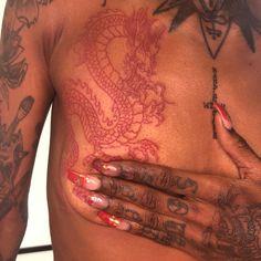 Tattoos For Black Skin, Black People Tattoos, Dark Skin Tattoo, Dope Tattoos For Women, Black Girls With Tattoos, Red Ink Tattoos, Life Tattoos, Body Art Tattoos, Cherry Tattoos