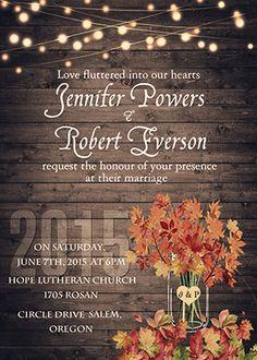 string lights and mason jars rustic fall wedding invitations EWI395_2