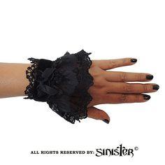 Hecate armbanden met kant en fluweel zwart - Gothic Lolita Halloween