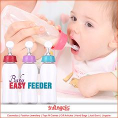 No more worries for feeding your kid. Feed your baby easily and smoothly with the easy feeder bottle from Angels Family Shop  #AngelsFamilyShop #Cosmetics #FashionJewellery #GiftArticles #HandBags #JustBorn #Lingerie #ToysNGames