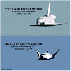 Shuttle Enterprise and Dream Chaser Spacecraft Space Launch, Nasa Space Program, Kennedy Space Center, Nasa Astronauts, Space Race, Dream Chaser, Air Space, Space Shuttle, Space Exploration