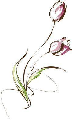 Minimal tulip tattoo