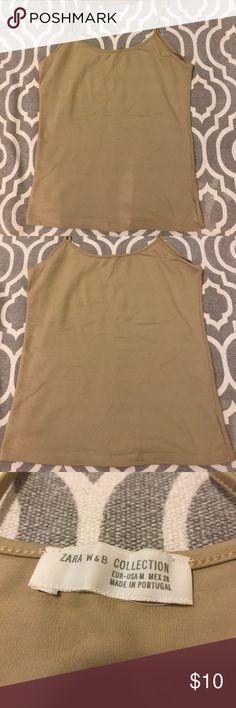 Zara shell tank/camisole Never worn neutral tan tank/camisole from Zara. Size Medium in new condition Zara Tops Tank Tops