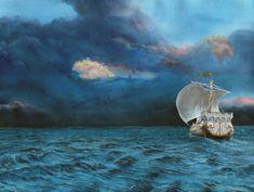 Illustration of Vingilot, Earendil's ship on (as it seems) futile search for Valinor. (Based on Tolkien's Silmarillion).