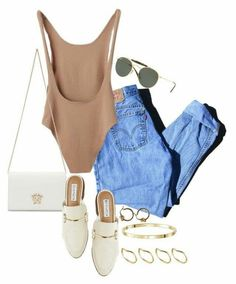A fashion look from December 2017 by manoella-f featuring Levi's, Steve Madden, Versace, ASOS and Ray-Ban Pastel Outfit, Look Fashion, Fashion Outfits, Womens Fashion, Fashion Trends, Modest Fashion, Fashion Bloggers, Mode Ootd, Looks Chic