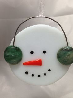 Fused Glass Christmas Snowman Ornament on Etsy, $12.50