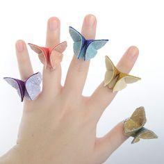 Silk Origami http://www.etsy.com/treasury/Nzg2NDExOXwyNDg2NTQ4NjMw/april-trends?index=7 Butterfly Adjustable Ring Custom Made by SewSmashing, $14.00