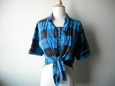Vintage Blue Plaid Unique Shirt by Baxtervintage on Etsy, $27.00