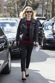 Paris Fashionweek day5, outside Céline, jennifer neyt - motorcycle leather jacket with black jeans and black and red striped top.