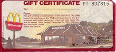 McDonald's Gift Certificate 1978