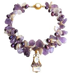 Regal purple faceted amethyst nugget briolettes hold court over the richly dyed cultured pearls, vintage and Czech beads and Mother of Pearl embellishments. The generous vermeil box clasp is inlaid with a gorgeous faceted Mother of Pearl design. This posh necklace is certain to make you feel like royalty.This item may be purchased on ecofirstart.com