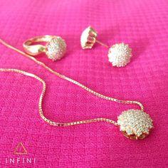 Pingente, anel e brinco em ouro 18k com diamantes -  beinfini. Infini Joias 72b46776e0