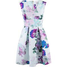 Closet Floral Blossom Skater Dress ($80) ❤ liked on Polyvore featuring dresses, vestidos, robe, short dresses, purple, women, mini dress, short purple dresses, purple mini dress and floral dress