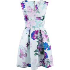 Closet Floral Blossom Skater Dress (30 CAD) ❤ liked on Polyvore featuring dresses, vestidos, robe, short dresses, purple, clearance, short purple dresses, fit and flare dress, mini dress and floral dress